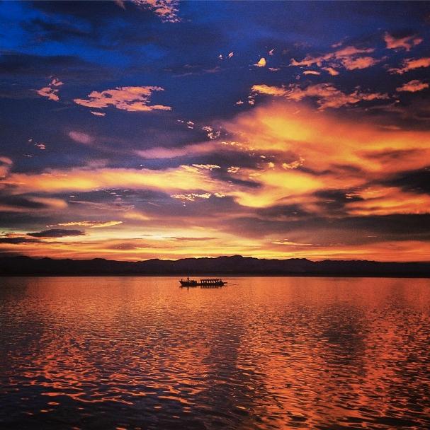 Sunset over the Ayeyarwady in Bagan.