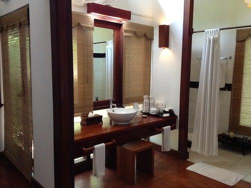 The bathroom was spacious and had a skylight.