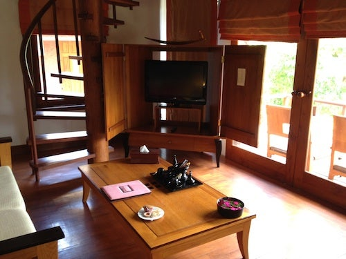 The TV and living room area.