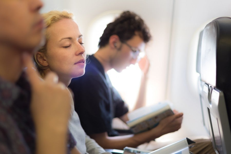 Reading on airplane