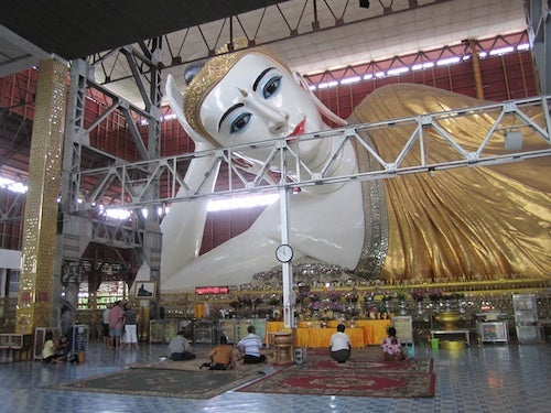 The enormous reclining Buddha at Chauk Htat Gyi.
