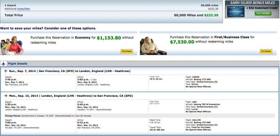 Using United miles to get to London is a good way to avoid huge fuel surcharges.