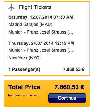 A full-fare last-minute recreation of my Madrid-Munich-JFK itinerary on Lufthansa would have cost about 7,861Euros - or