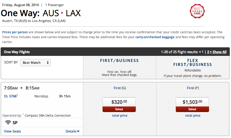 Sample full-price first-class fares on Delta for a one-way trip AUS-LAX on August 8, 2014