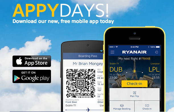 Ryanair's new app is available for iPhone and Android.
