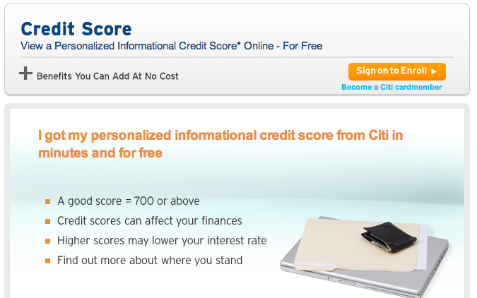 Citi offers its cardholders free access to their credit score - but only for 30 days