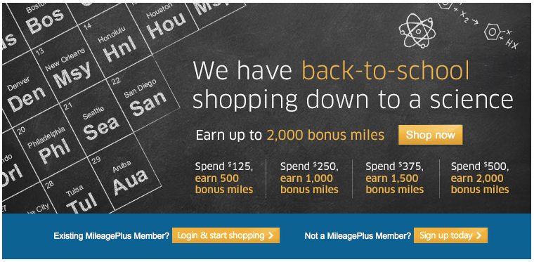 United's shopping mall is currently offering up to 2,000 bonus miles for new customers.