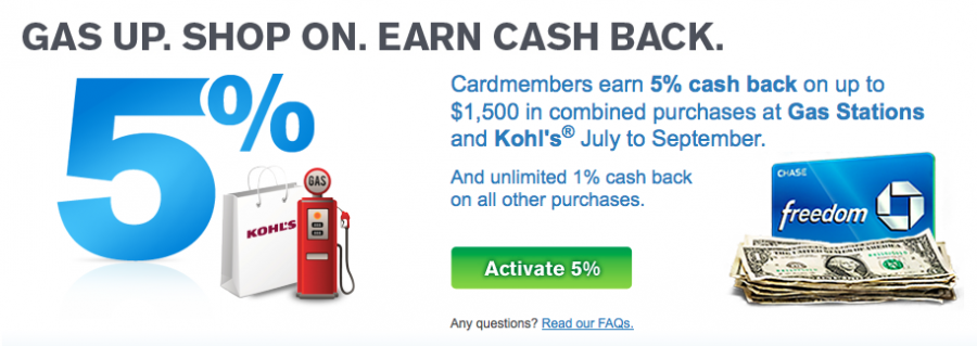 Kohl's purchases will earn you 5% cash back (or 5 Ultimate Rewards points per dollar spent) through September!