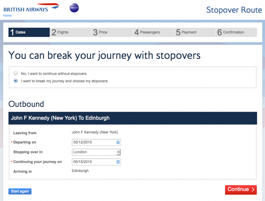 The BA booking engine will give you the ability to add stopovers on eligible itineraries.