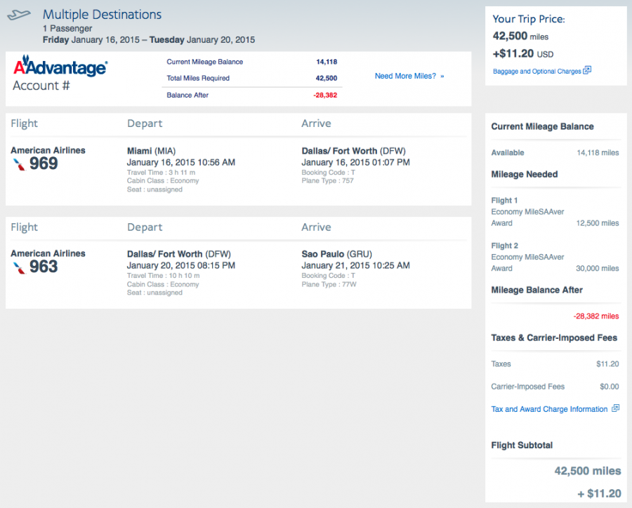 This itinerary shows American's new policy that no longer allows stopovers.