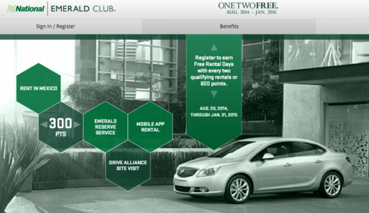 """National Car Rental's """"One Two Free"""" promo is back, August 20, 2014-January 31, 2015"""