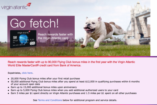 Earn Up To 90,000 bonus miles with the Virgin Atlantic World Elite Mastercard.