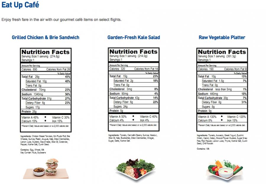 JetBlue eat up cafe nutrition