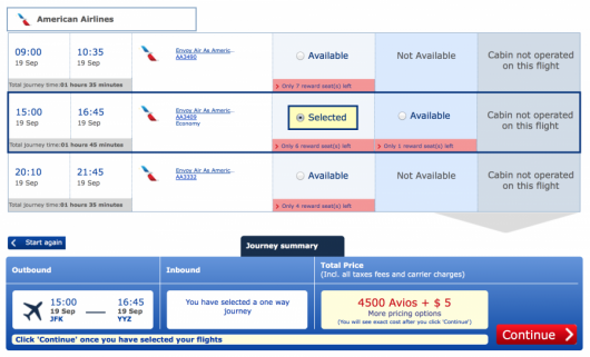 Using British Airways Avios for New York-Toronto is still only 4,500 avios each eay.