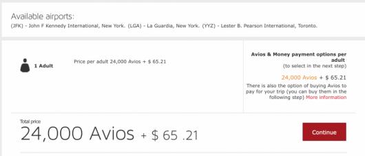 Redeeming Iberia Avios for JFK-Toronto is now 24,000 avios round-trip.