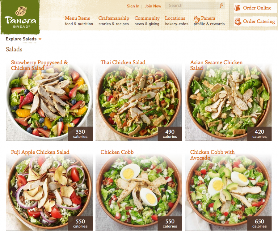 Panera is one chain that posts their calorie counts online AND on their large in-store menus.