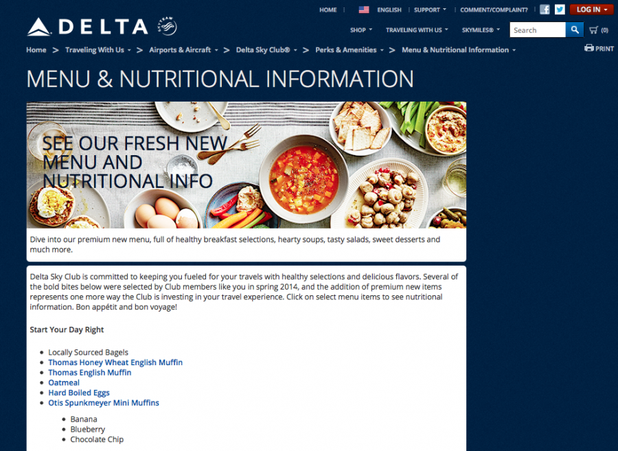 The new online menu for Delta Sky Clubs includes links with nutrition information.