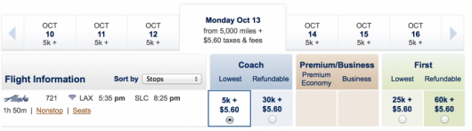 LAX-SLC for only 5,000 miles.