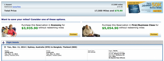 United Sydney-Bangkok for 17,5000 miles in economy.