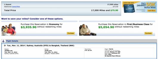 United Sydney-Bangkok for 17,5000 miles in economy.