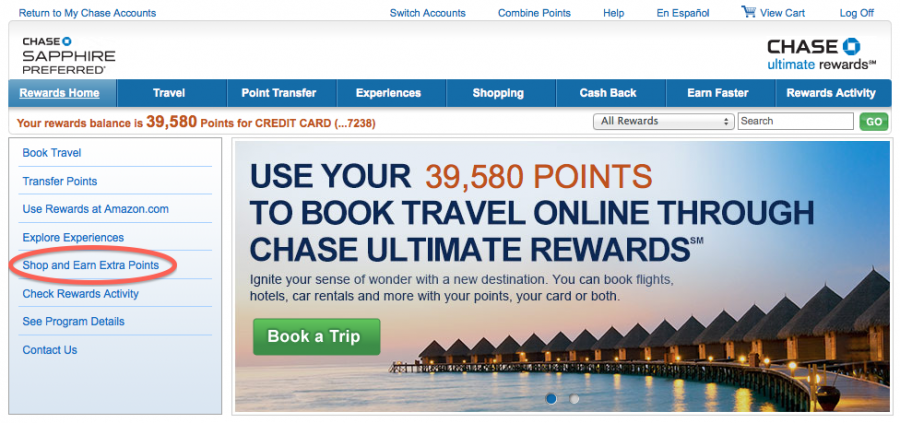 You can earn extra Ultimate Rewards points when shopping with various online merchants.