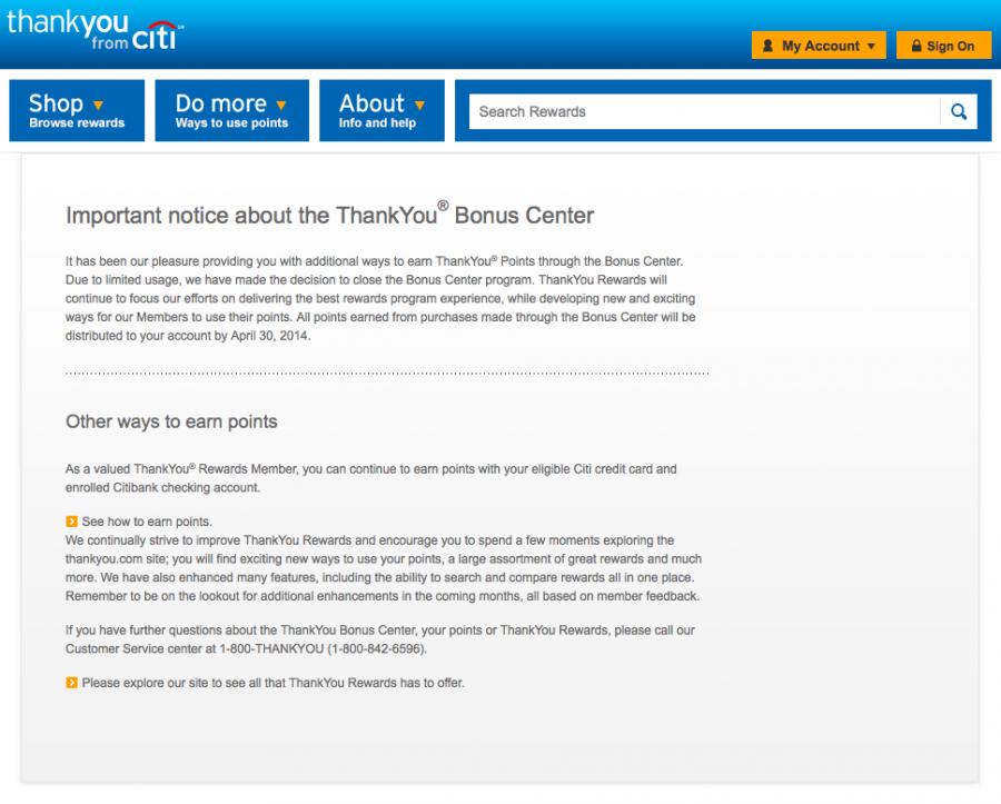 Unfortunately, you can no longer earn bonus ThankYou points through an online shopping portal.