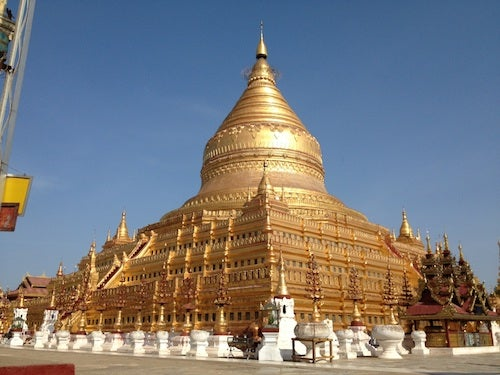 Our first stop was gleaming Shwezigon.