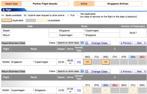 I was able to hone in on a Singapore-Copenhagen business class award pretty quickly.