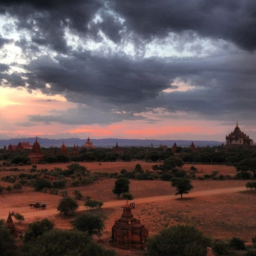 Looking out over the temples at sunset from