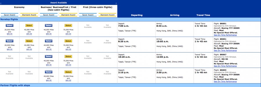 I did a separate search to find a connecting flight from TPE to Hong Kong on United.com.