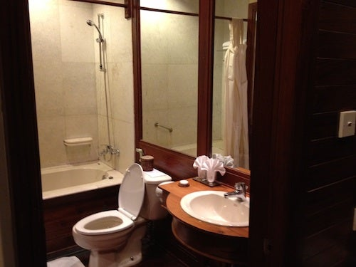 The bathroom was large and fully stocked.