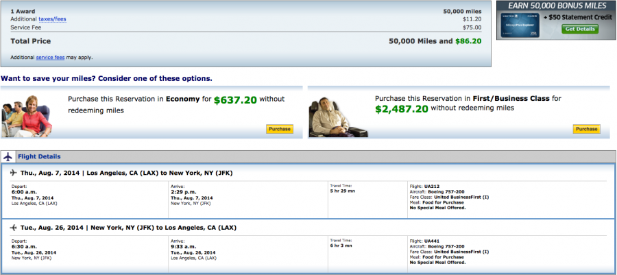 Use the bonus miles to fly transcontinental business class.