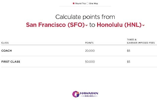 Virgin America awards on Hawaiian are only 20,000 miles from the west coast, round trip.