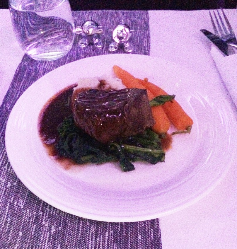 Beef for dinner in Virgin Atlantic's Upper Class