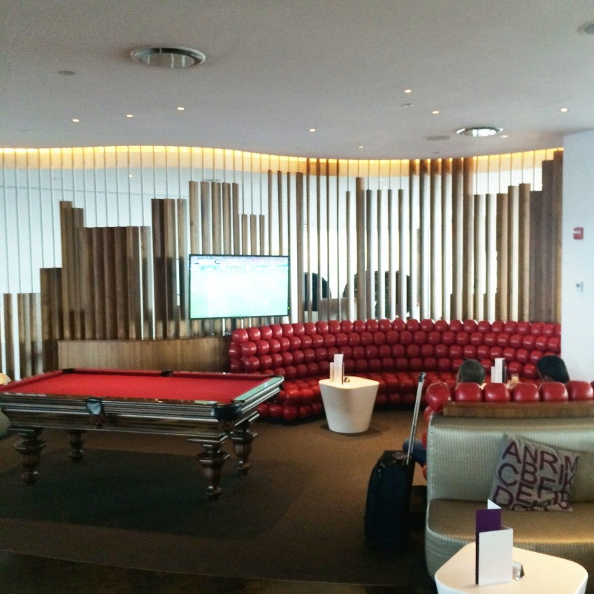 Virgin Atlantic's swanky Clubhouse at JFK even has a pool table
