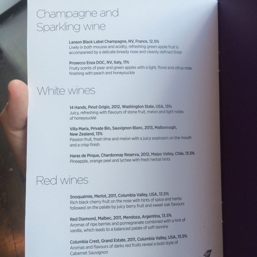 The Upper Class wine menu aboard my flight