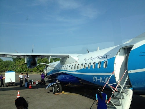 We boarded the plane from the back.