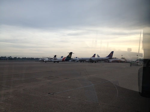 The tarmac at Yangon early in the morning.