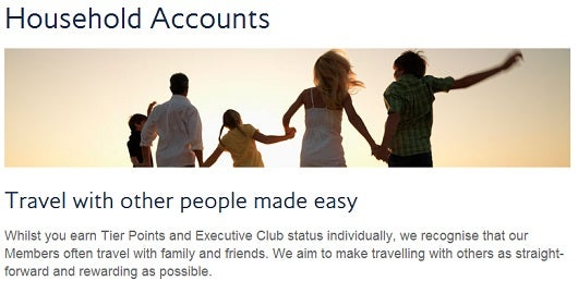 British Airways offers a unique point sharing program called Household Accounts