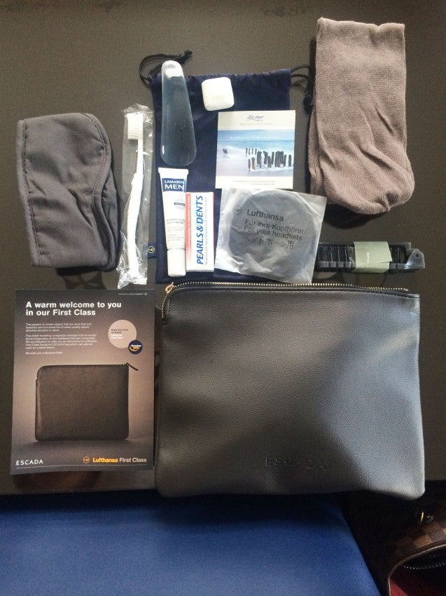 Lufthansa's first-class amenity kit aboard the A330