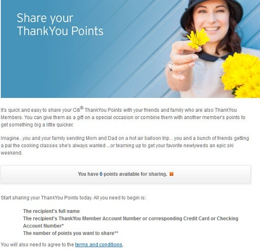 Members of Citi's ThankYou Points program can share their points with any other member for free.