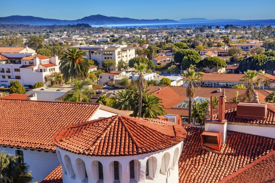 Santa Barbara's Spanish Colonial-Revival style spreads across town, from the mountains to the Pacific Ocean