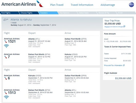 This $3,500 flight in business class could be booked for 135,000 miles, twice the rate of a saver award.