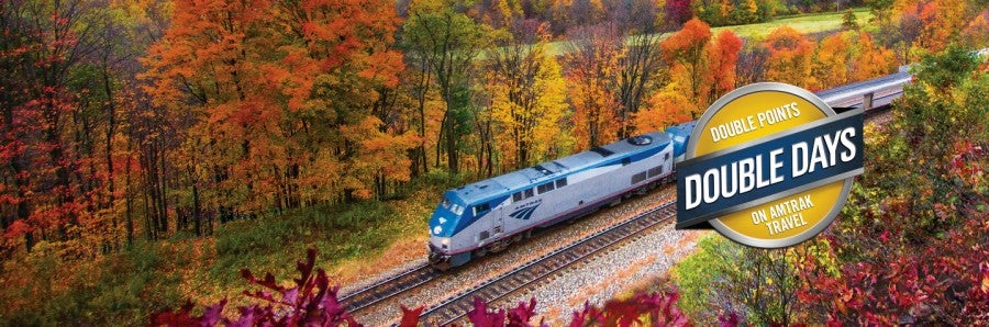 Amtrak's fall promotion allows you to earn double points on all paid tickets through mid-November.