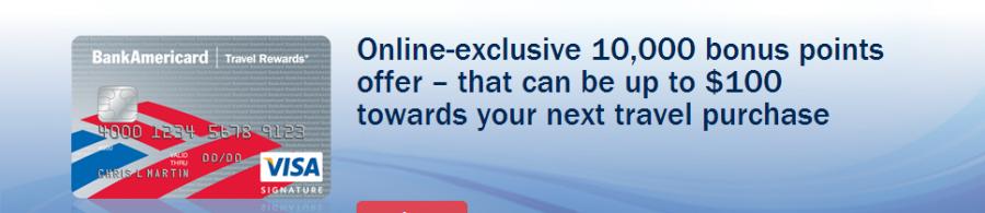 Bank of America Travel rewards banner