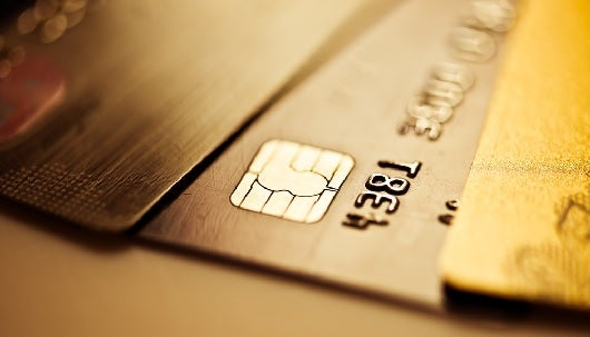 Credit cards equipped with an EMV smart chip are more secure than those with just a magnetic chip. Image courtesy of Shutterstock.