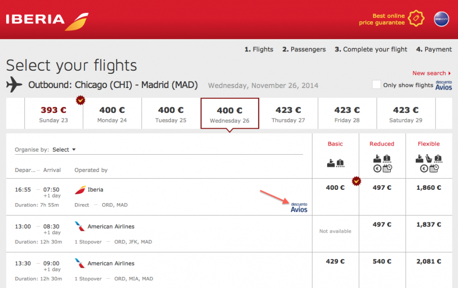 """Look for the """"descuento Avios"""" icon when booking flights on Iberia.com to save 25% off the fare by using Avios. Unfortunately, those are the only details provided!"""