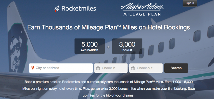 Hotel booking site/app Rocketmiles has now partners with Alaska Airlines' Mileage Plan