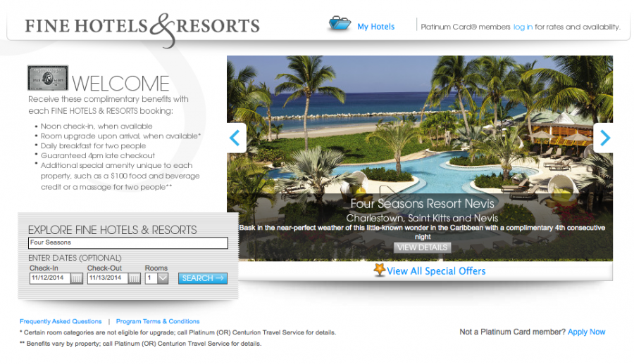 American Express' Fine Hotels & Resorts programs offers benefits at over 750 luxury properties worldwide.