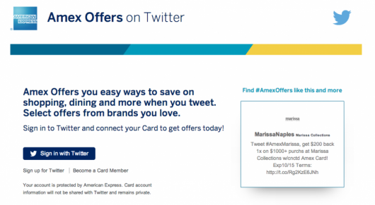 """Use the """"Sign in with twitter button"""" to begin the process of syncing your Amex card with your Twitter account"""